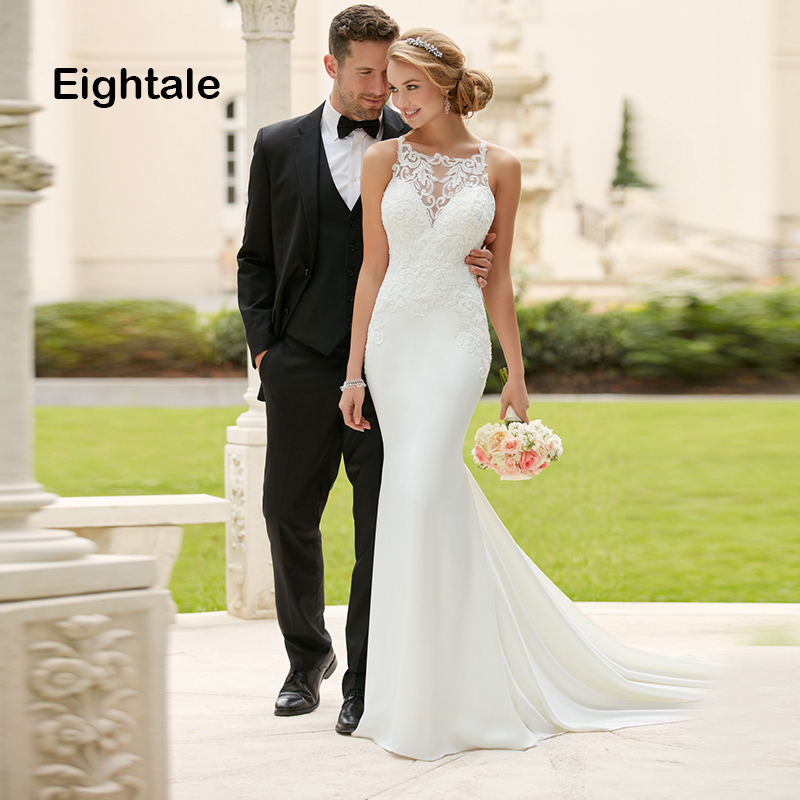 Robe de mariée sirène Boho en dentelle col rond en mousseline de soie robe de mariée Appliques robes de mariée simples 2019 vestido novia