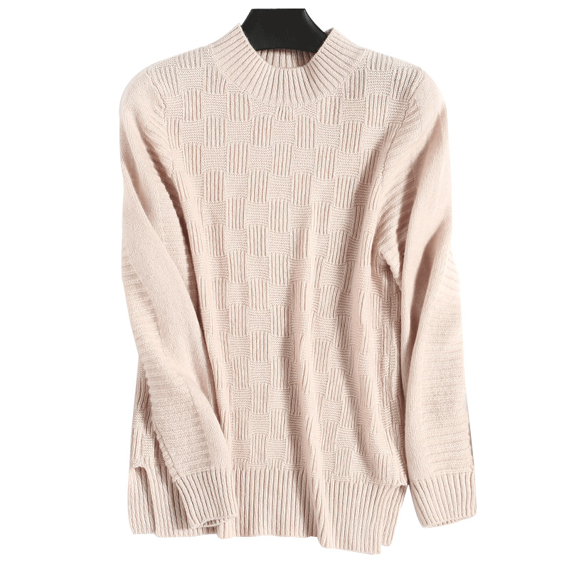 Cashmere Wool Knitted Sweaters Cable Knit Plaid Knitwear Woman Winter Pullovers Tops Ladies Jumpers Clothing Pink Turtleneck