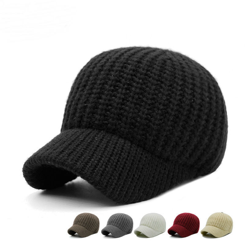 Men Hats Male Autumn And Winter Solid Color Knitting Hat Women Outdoors Short Peaked   Baseball     Cap