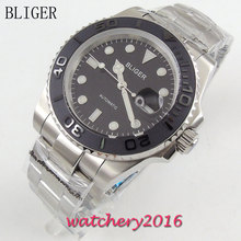 40mm Bliger black Dial ceramic bezel Auto Date Luminous Marks Miyota Sapphire Glass Automatic Movement Men's Watch