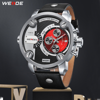 WEIDE Man Luxury Casual Quartz Military Sports Calendar Auto Date Black Leather Strap Alloy Case Relogio Masculino watch clock