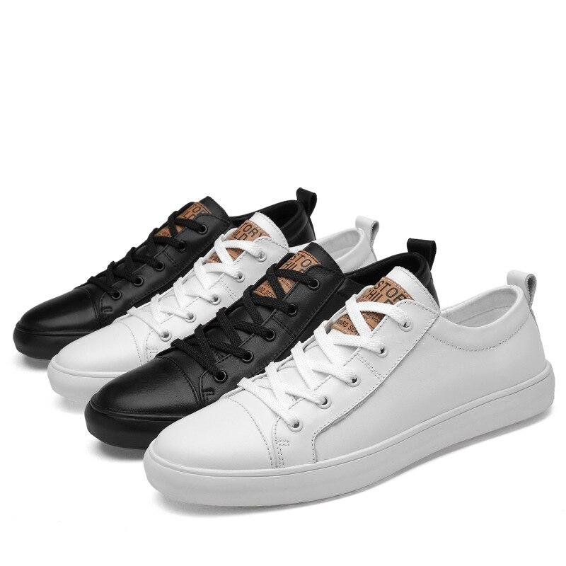 Calzado Hombres Cómodos De Genuino Zapatillas Deporte Merkmak black Zapatos White Shoes Clásica Planos Los Dropship Cuero Shoes Moda Hombre Casuales q4wfgp