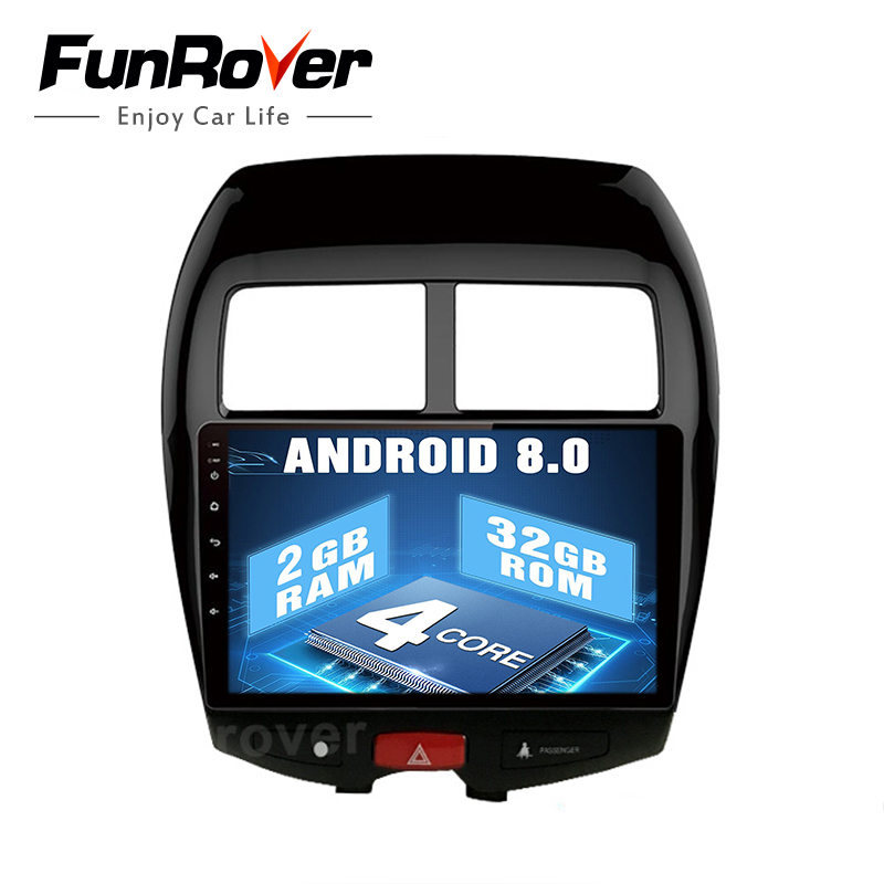 Funrover 2 din car radio tape recorder Android 8.0 for Mitsubishi ASX 2010-17 Car Android Multimedia Stereo Headunit USB NO DVD
