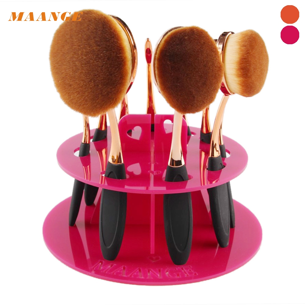 MAANGE High Quality 10 Hole Oval Makeup Brush Brush Holder Drying Rack Organizer Cosmetic Shelf Tool H Pink Dropship easy install brush drying rack tree for different standard holes random color
