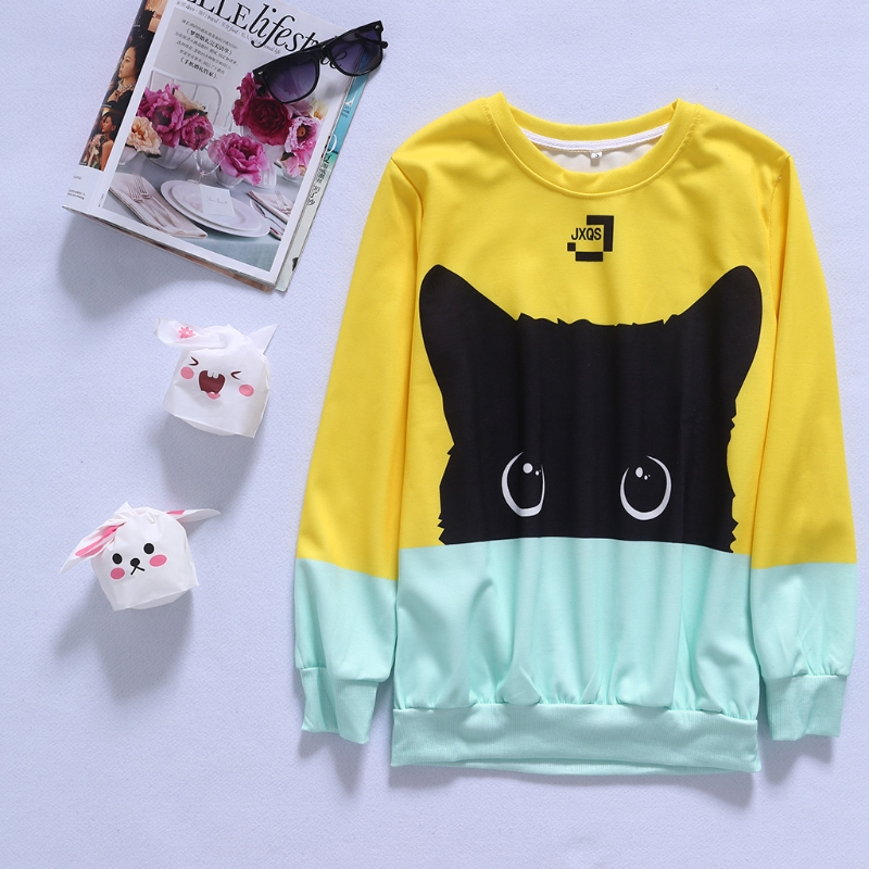 Yellow Blue Cat Fashion Men Women Sweatshirt Space Cotton Kawaii Cartoon Cat Pullover Hoodies Wholesales