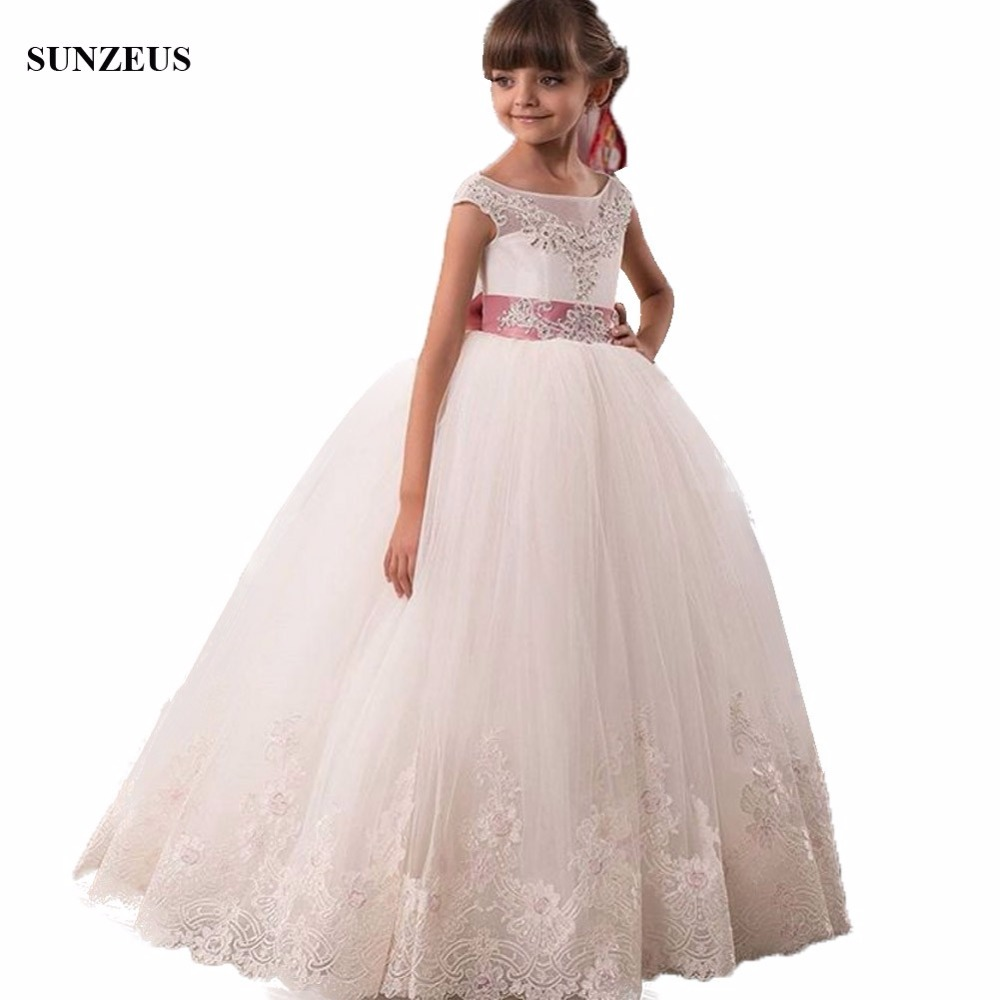 Ball Gown Cap Sleeve Puffy   Flower     Girl     Dresses   For Weddings Floor Length Long Kid Party Gowns With Appliques Bow FLG084