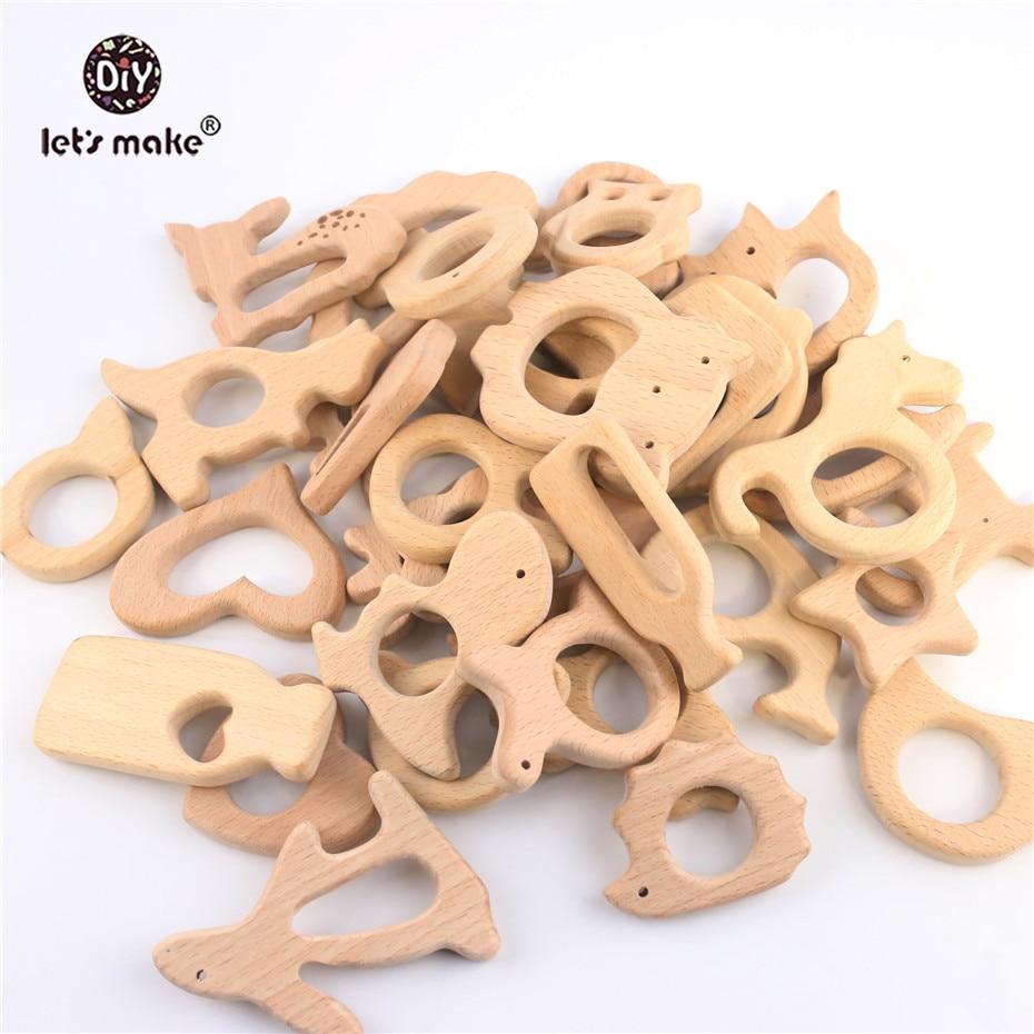 Best Price  Let's Make Baby Teether Animal Beech Wood Rings 10PCS Bird Unicorn DIY Accessories Teething Toys Ba