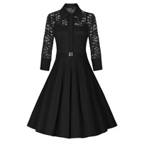 Female Summer Autumn Vintage Big Swing Rockabilly Party Dresses Fashion Three Quarters Sleeves Lace Dress Vestidos Cocktail Gown