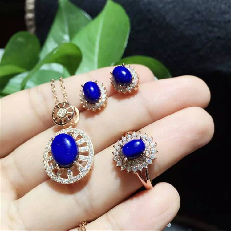 Natural lapis lazuli Earrings Ring Necklace Pendant Set inlaid jewelry wholesale S925 silver pure 2017 new s925 silver coins necklace natural semi precious stones lapis lazuli retro ethnic style tassel pendant women jewelry