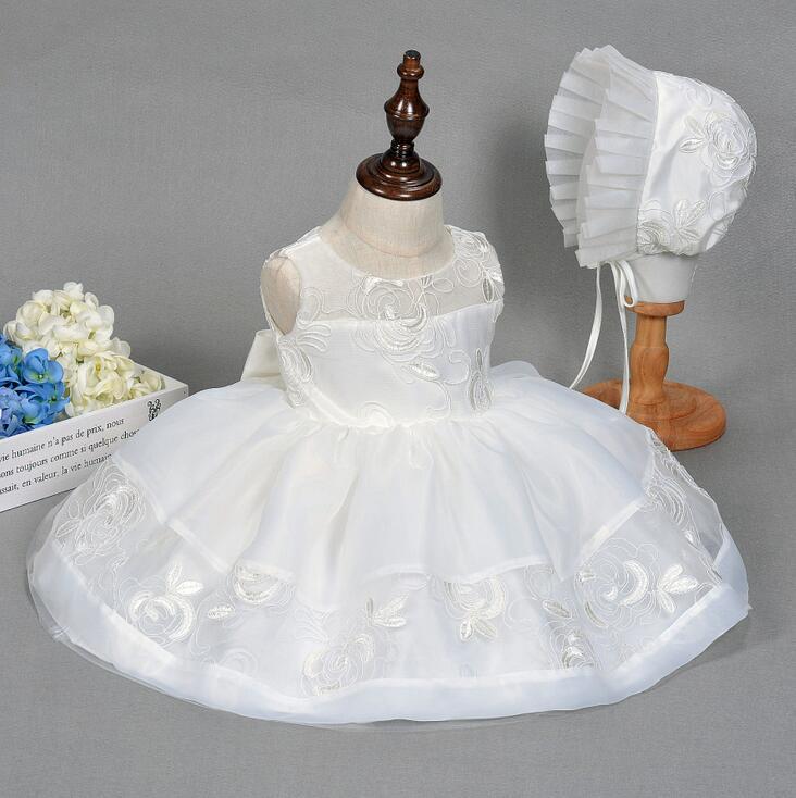 Newborn Christening Gown Party Wedding Dress Elegant Baptism Birthday Christmas Dresses hat set Embroidery Beaded Ivory Frocks