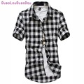 Red And Black Plaid Shirt Men Shirts 2017 New Summer Fashion Chemise Homme Mens Checkered Shirts Short Sleeve Shirt Men Cheap