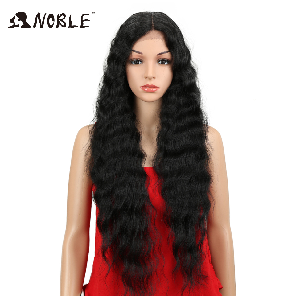 Noble Synthetic Lace Front Wig Natural Hair Wig Black 30Inch Deep Wave Super Long Wavy Synthetic Wigs For Black Women