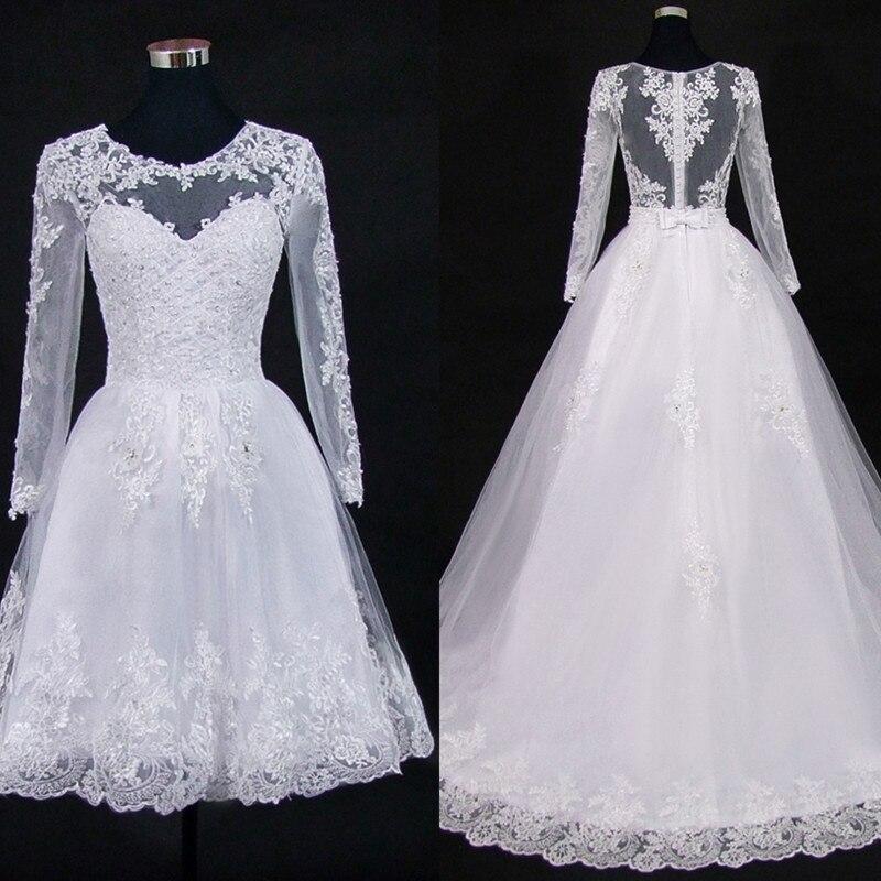 QQ Lover 2019 Detachable Train Lace Appliques Pearls 2 In 1 Wedding Dresses Bridal Gowns 2 En 1 Vestido De Noiva Illusion