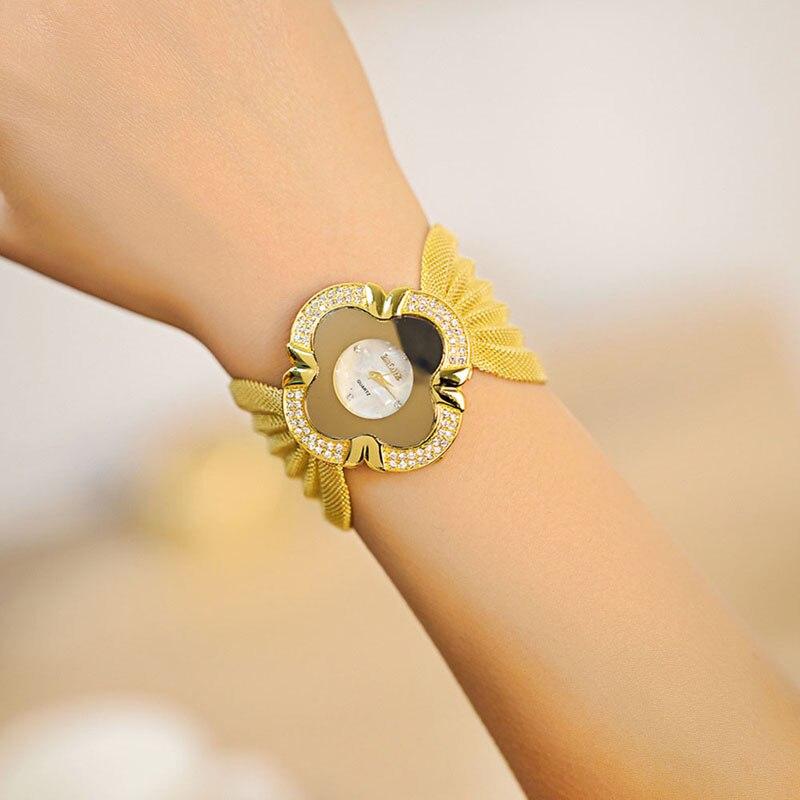 2016 New Fashion Girl Reloj Mujer Bracelet Watch Quartz Women Dress Wristwatch Ladies Bracelets Watch Gold