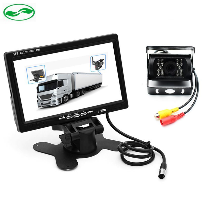 DC 12V~36V Truck Bus Parking Camera Monitor System, HD 7 Inch Car Monitor With Rear View Camera 10M 15M 20M RCA Video Cable diysecur 4pin dc12v 24v 7 inch 4 split quad lcd screen display rear view video security monitor for car truck bus cctv camera