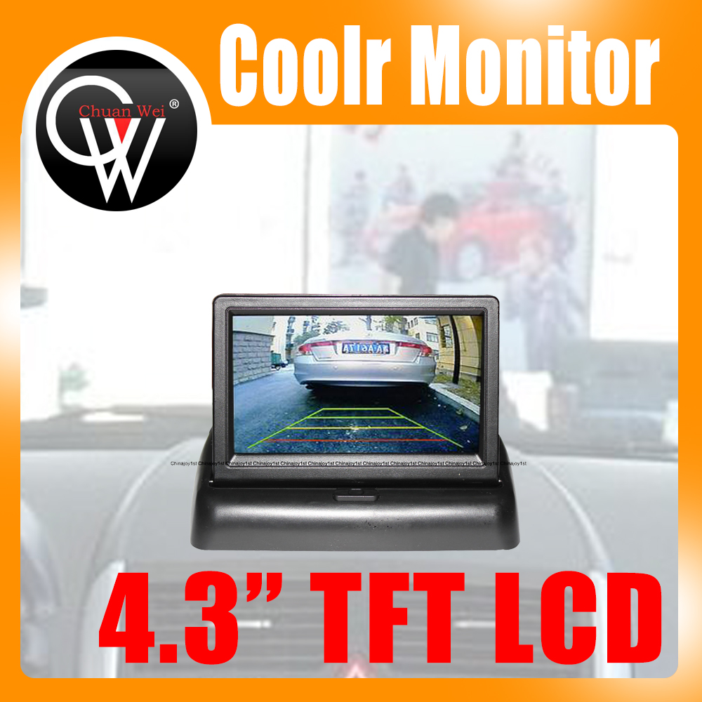 4.3inch TFT LCD Coolr Monitor car Rear-view System 2 Video inputs Free shipping fashion 3 5 inch tft lcd monitor for rear view system cctv monitor
