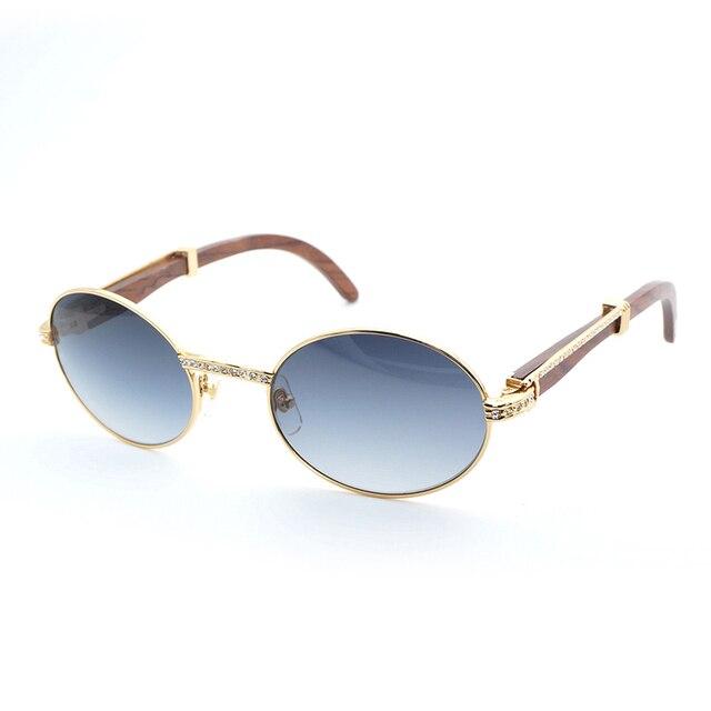 59a1816ab5 Vintage Rhinestone Wood Sunglasses Men Shades Round Black Buffalo Horn  Stone Glasses for Men Luxury Style
