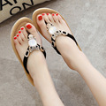Platform Wedges Flats Sandals Summer Style Sandals Women Fashion Beading Cartoon Female Beach Elegant Bohemian Shoes Size 40