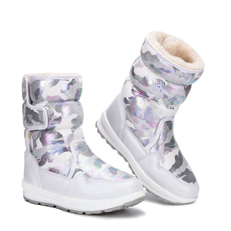 Boots women shoes female winter snow boot white pink blue black beige camouflage big size new