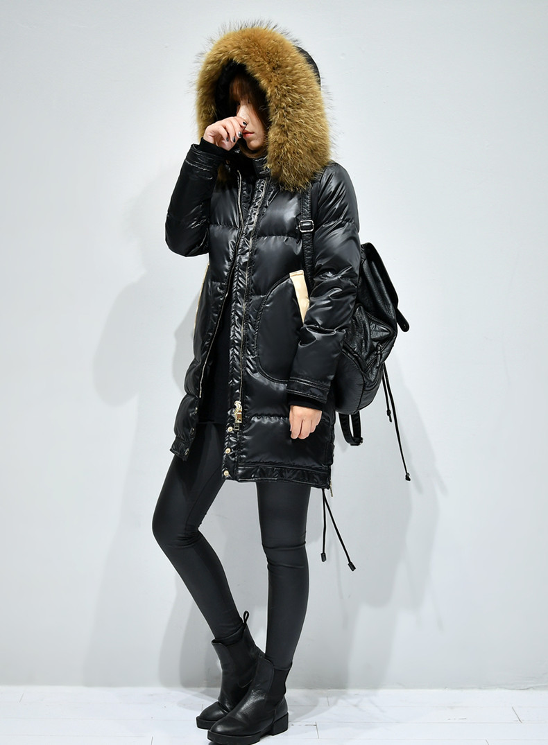2018 winter fashion woman duck down coat large real natural fur hood ladies thick warm parka female padded jackets black red 3xl