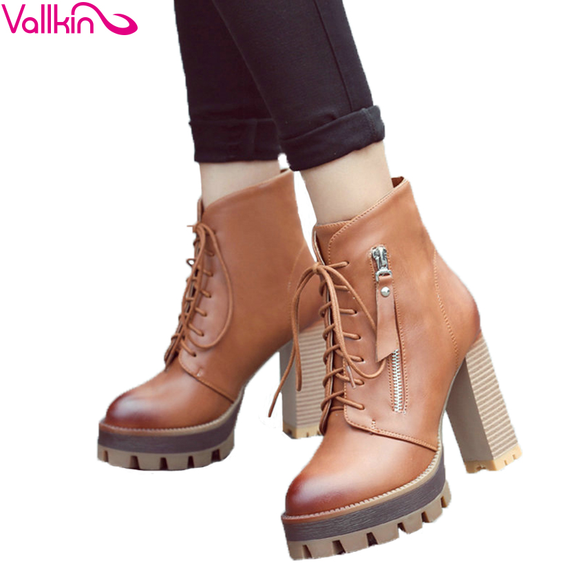 VALLKIN 2016 Lace Up Western Style Women Boots Platform PU Autumn Shoes Thick High Heel Winter Shoes Lady Ankle Boots Size 34-42 2015 new style women blue wedge boots pu leather women white autumn boots lace up platform boots x793 5