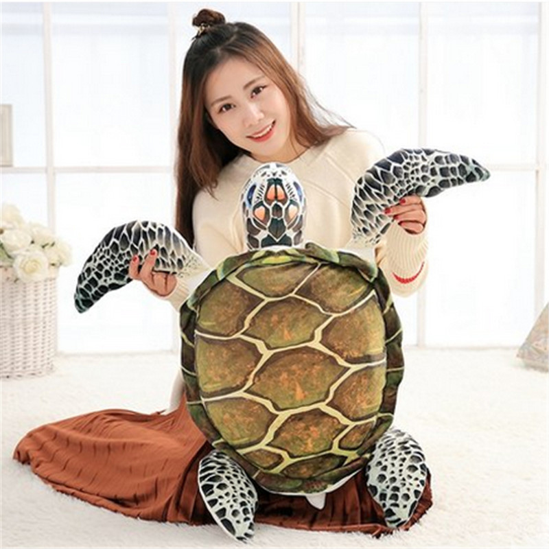 Fancytrader Big Simulated Sea Animals Fish Plush Toy 3D Realistic Stuffed Soft Fishes Turtle Pillow Doll 65cm plush toy turtle large turtles doll big fluffy pillow doll birthday gift to men and women turtle about 55cm