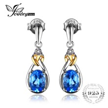 JewelryPalace Love Knot 1.9ct Natural Blue Topaz Earrings Dangle Diamond Solid 925 Sterling Silver 18K Yellow Gold Fine Jewelry