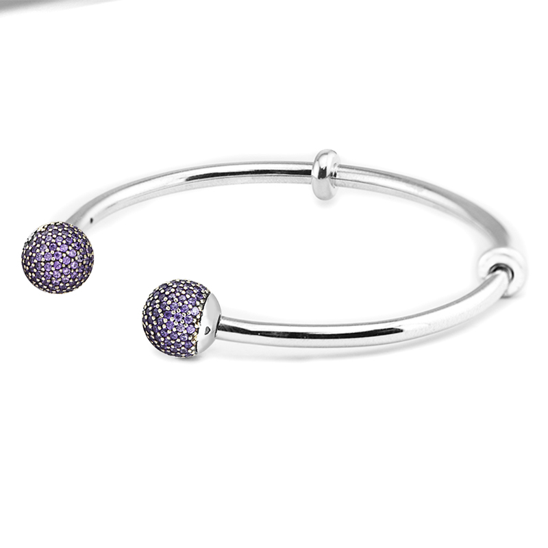 925 Sterling Silver Jewelry Open Bangle with Purple CZ Caps Trendy Bracelets and Bangles for Women DIY Fits Original Charm Beads цена 2017