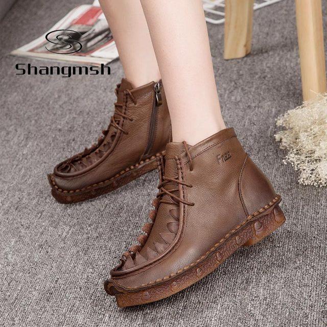 Handmade Sapatos Martin Botas De Couro Chinês Estilo Folk Retro Suave Botas Flat Plus Size 10 Do Sexo Feminino Lazer de Veludo Morno Mulheres sapatos