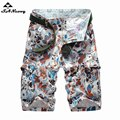 Men's Camouflage Cargo Beach Shorts Summer Men Cotton Military Casual Short Multi-Pockets Trouser No Belt