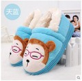 Special Offer 2015 Children Fall Winter Cotton-Padded Shoes Boys Girls Cartoon Monkey Plush Warm Slippers Baby Kid Feetwear G226