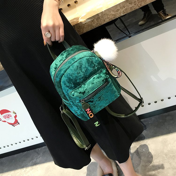 856edf6f42 2018 new mini wild backbag female Korean velvet casual small bag travel bag  four color spring fashion backpack-in Backpacks from Luggage   Bags on ...