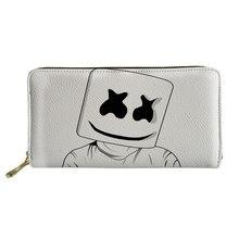 Купить с кэшбэком Noisydesigns Cute Marshmello Pattern Print Women Wallets Ladies Clutch Long Phone Purse for Credit Card Females Coin Pocket
