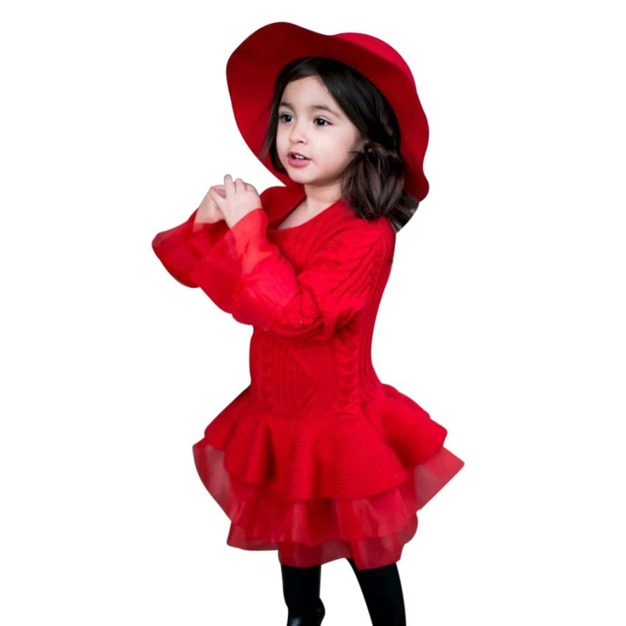 Kids Girl Knitted Sweater Winter Warm Pullovers Crochet Tutu Dress Tops Clothes Red Long Sleeve Fashion Girls Dress Dropshipping autumn winter female long wool knitted dresses turtleneck slim lady accept waist package hip pullovers sweater dress for women