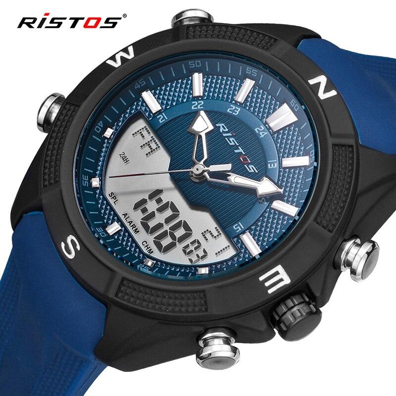 Ausdrucksvoll Ristos Marke Männlichen Chronograph Uhr Uhren Masculino Hombresilicone Strap Männer Sport Uhren Analog Multifunktions Armbanduhr