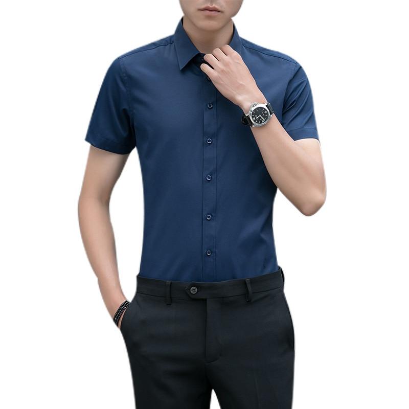 2018 Neue Ankunft Marke Herren Sommer Business Hemd Mit Kurzen Ärmeln Drehen-unten Kragen Marke Kleidung Plus Größe 5xl