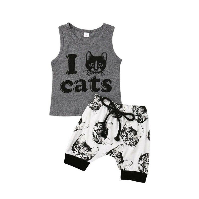 Pasgeboren Kids Baby Jongens Outfits Zomer Streetwear Mouwloze Tank Tops Lace-up Shorts Animal Gedrukt 2 Stuks Baby Boy outfits 0-24 M
