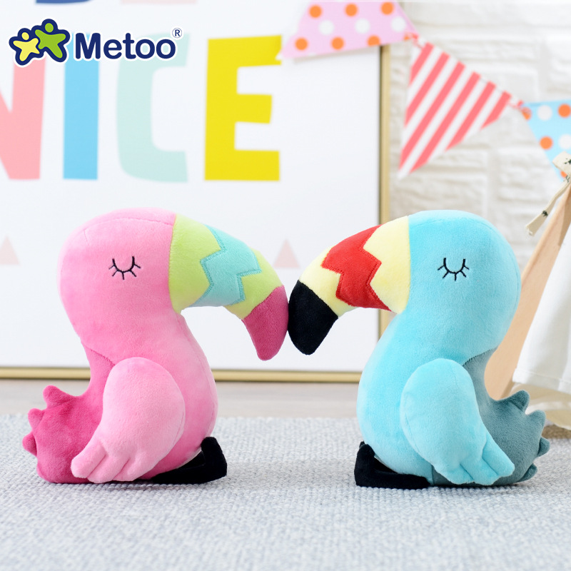20cm Parrot Kawaii Stuffed Plush Animals Cartoon Kids Toys for Girls Children Baby Birthday Christmas Gift Metoo Doll cute bulbasaur plush toys baby kawaii genius soft stuffed animals doll for kids hot anime character toys children birthday gift