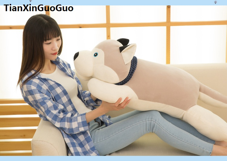 new arrival large 90cm prone gray husky dog plush toy soft stuffed doll throw pillow Christmas gift h2021 super cute plush toy dog doll as a christmas gift for children s home decoration 20
