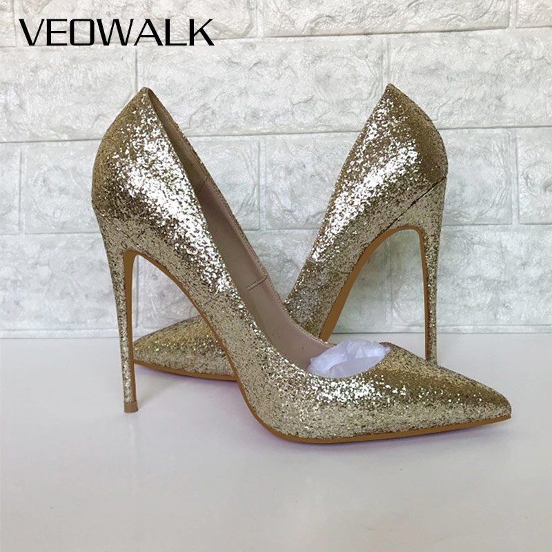 39121b0830 Veowalk Women Shinny Gold Pointed Toe High Heel Shoes Sexy Sparkly Laidies  Slip on Stiletto Party Wedding Bridal Pumps 12 10 8cm