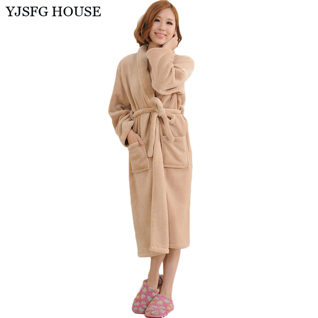 YJSFG HOUSE Women And Men Autumn Winter Flannel Bathrobe Casual Warm  Dressing Gown Robe 2017 Long Bathrobe Unisex Robes White d763046c2