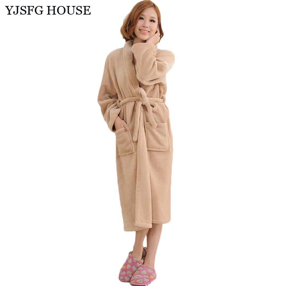 YJSFG HOUSE Women And Men Autumn Winter Flannel Bathrobe Casual Warm Dressing Gown Robe 2017 Long Bathrobe Unisex Robes White