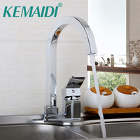 KEMAIDI UK Contemperory Kitchen Faucet Chrome Polished Solid Brass Basin Sink Mixer Swivel Faucets Single Lever