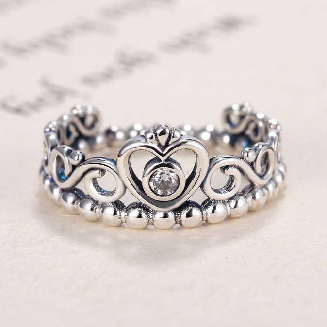My Princess Queen Crown Silver Engagement Ring For Women Wedding With Clear CZ Authentic Brand Ring Jewelry