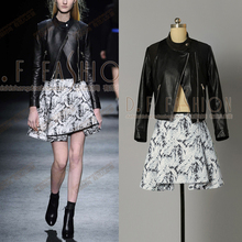 2016 Real Full Crop Top And Skirt Set New Style Of Sleeved Shirt + Large Skirts Women Leather Suits Winter Fashion Jackets And