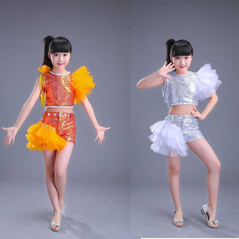 3018c08e987 Серебристые Обувь для девочек блестками современный Танцы Топы  Корректирующие + Брюки для девочек детский праздничный костюм