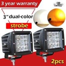 """CO LUZ 3 """"24 W Conduziu a Luz do Trabalho 12D Strobeflash Branco Amarelo Spot Offroad Levou Bar para Barco Lada Uaz Truck 4×4 12 V 24 V 6000 K 3000 K"""