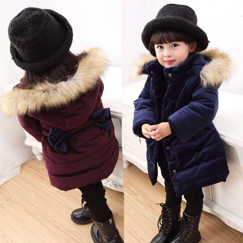 Girls Jackets Coats 2018 Fashion Fur Hooded Thick Warm Down Cotton Kids Clothes Outwear Children's Thicking Cotton Padded Jacket цена