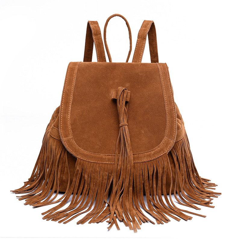 Valink New Fashion Women Tassel Backpack Vintage Suede Backpacks for Teenage Girls Shoulder School Bags Travel Backbags Mochila