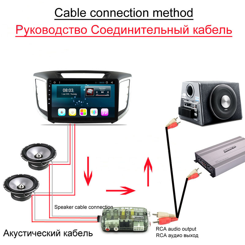 12V Universal RCA Line Car Subwoofer Stero Radio Converters Speakers High To Low Car Audio Amplifier Impedance Converter 4